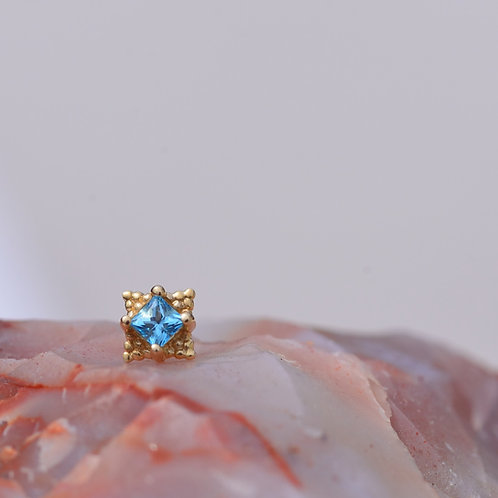 Princess Mini Kandy Solid 14k Yellow Gold with Ice Blue Topaz