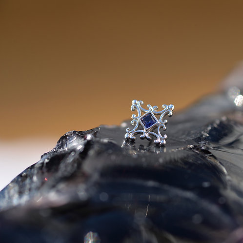 BVLA Solid 14K White Gold with Iolite Hyperion threadless end