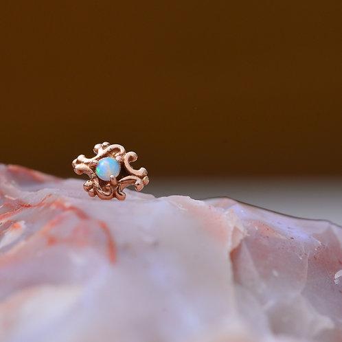 Paloma Swirl BVLA Rose Gold with White Opal Threadless