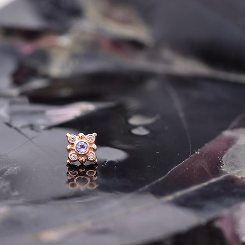 Orion threadless end with genuine Tanzanite and White Sapphire