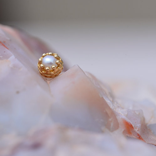 Yellow Gold Crown Prong Half Pearl Threadless end 6mm BVLA
