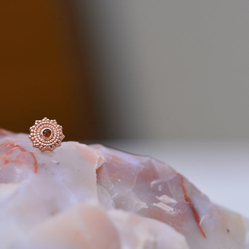 Threadless Round Afghan 6mm Solid Rose Gold with Citrine BVLA