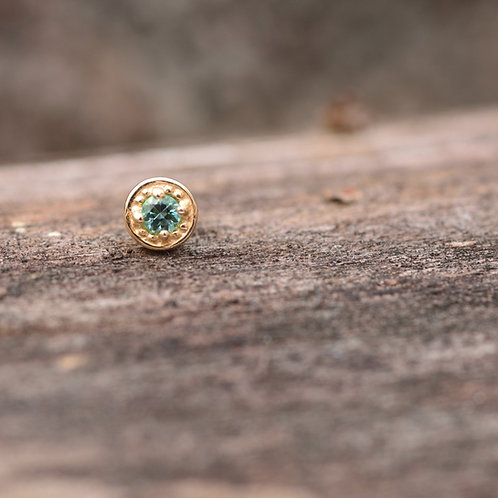 Millgrain Prong 4mm 14k Solid Yellow Gold with Seafoam Tormaline