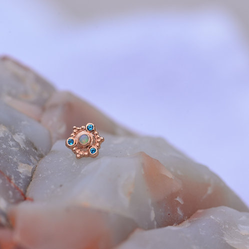 Columbo threadless end Solid Rose Gold Genuine White Opal and Paraiba Topaz