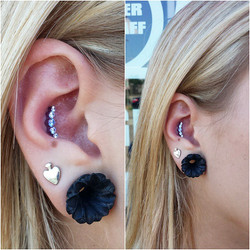 The perfect placement makes this prium end fit so wonderfully into this single conch piercing
