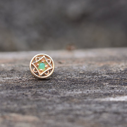 Threadless Paloma Square 14k Solid Yellow Gold with 2mm Chrysoprase