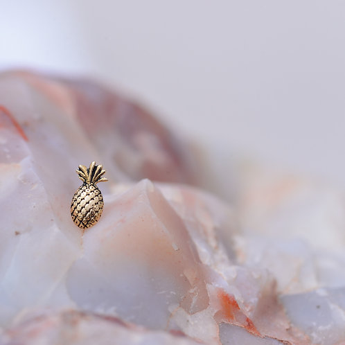 Antiqued Pineapple 14k Solid Yellow Gold Threadless BVLA