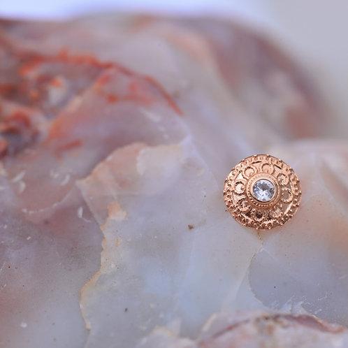 Solid Rose Gold White Sapphire Nanda Threadless End 14k BVLA