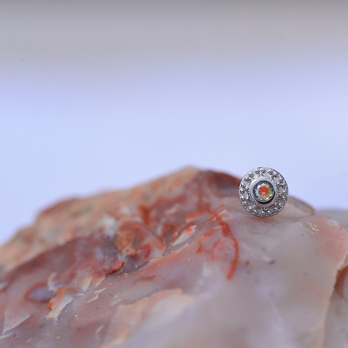 Tiny Nanda Threadless 14k Solid White Gold with Mercury Mist Topaz BVLA