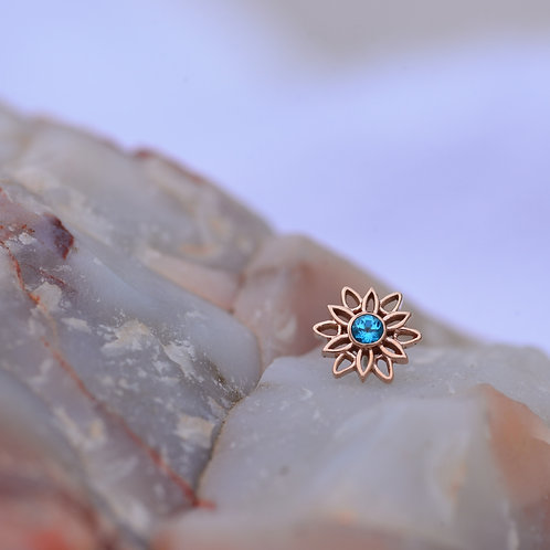 Marisol threadless end Rose Gold and Paraiba Topaz