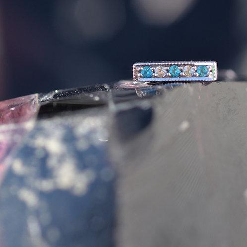 14K Threadless 5 gem Millgrain strip White Gold Paraiba Topaz and White Sapphire