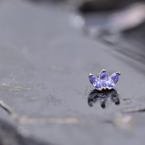 Marquise Fan White Gold with Genuine AA Tanzanite Threadless