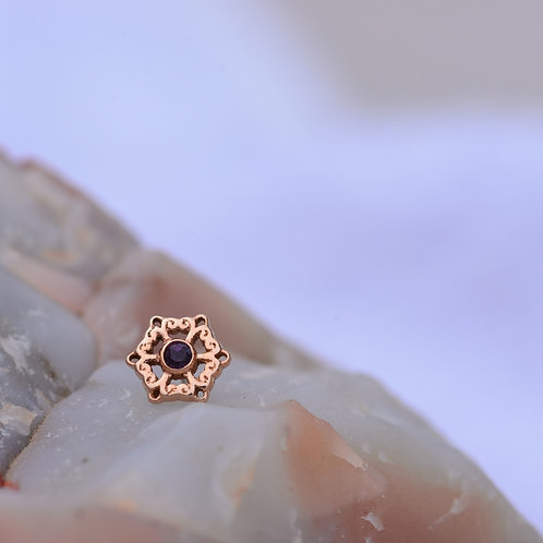Chloe Threadless end Rose Gold with Midnight Topaz