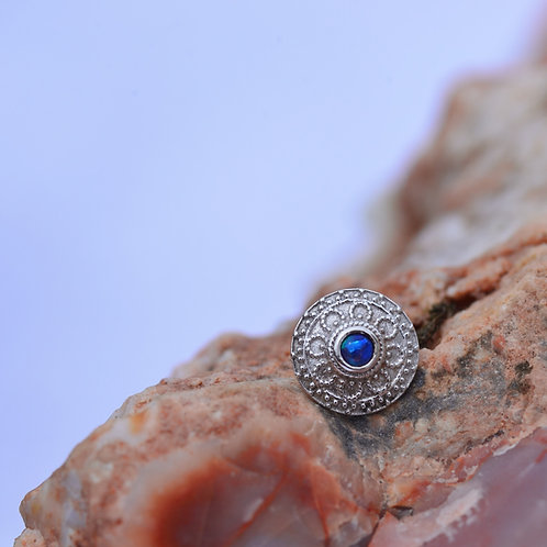 Nanda 7mm Threadless Solid White Gold 14k purple opal