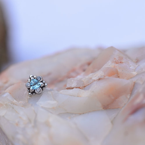 Helena from BVLA White Gold Swiss Blue Trillion with White Sapphire accents