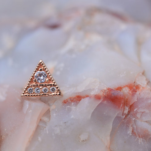 Endymion Triangle 14k Solid Rose Gold and AA DC White Sapphire