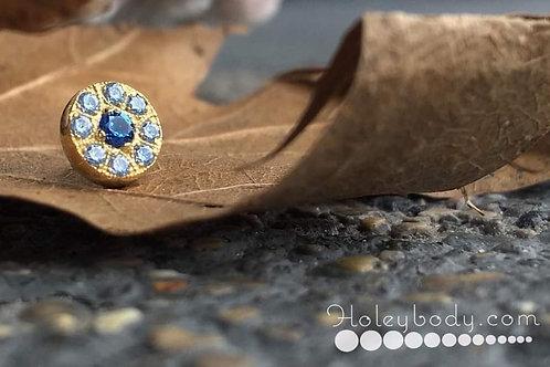 Diane Threadless End 18k solid gold Sapphire and Aquamarine Anatometal