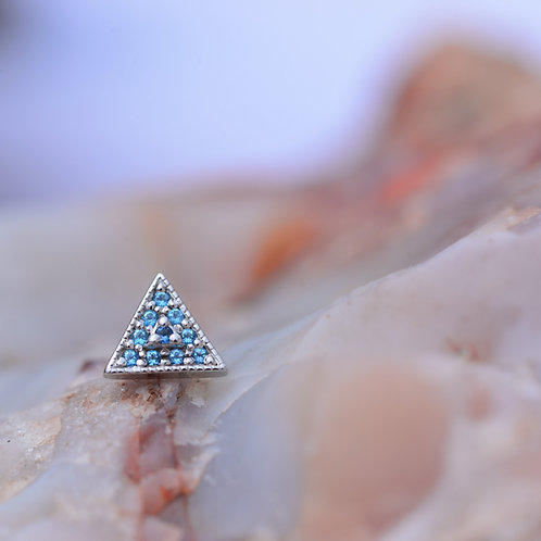 Step-up Triangle BVLA Solid White Gold with Ice Blue Topaz and Aquamarine