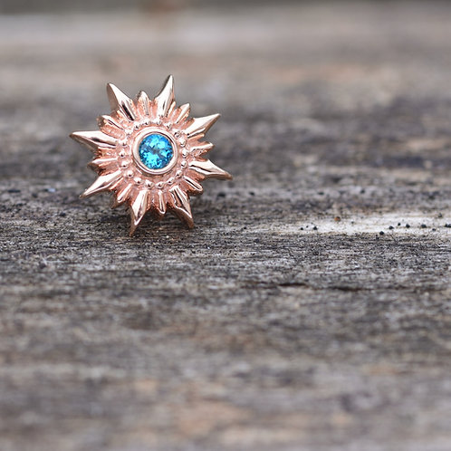 Compass Threadless End Rose Gold with Paraibia Topaz BVLA