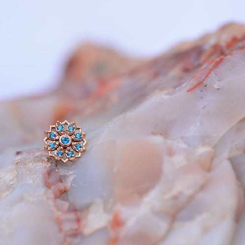 Rosette BVLA threadless end with Paraiba Topaz Solid Rose and Solid White Gold
