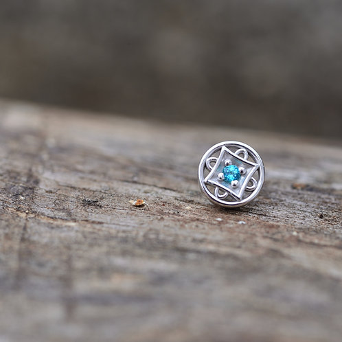 Threadless Paloma Square 14k solid white gold with Paraibia Topaz