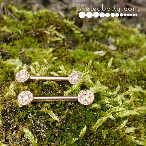 Solid Rose gold Nipple Barbells with genuine AAA White Opals