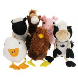 Collection of farm animal finger puppets