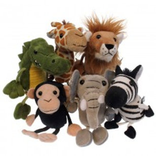 Collection of wild animal finger puppets