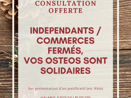 Solidarité des ostéopathes Versaillais : Consultation offerte