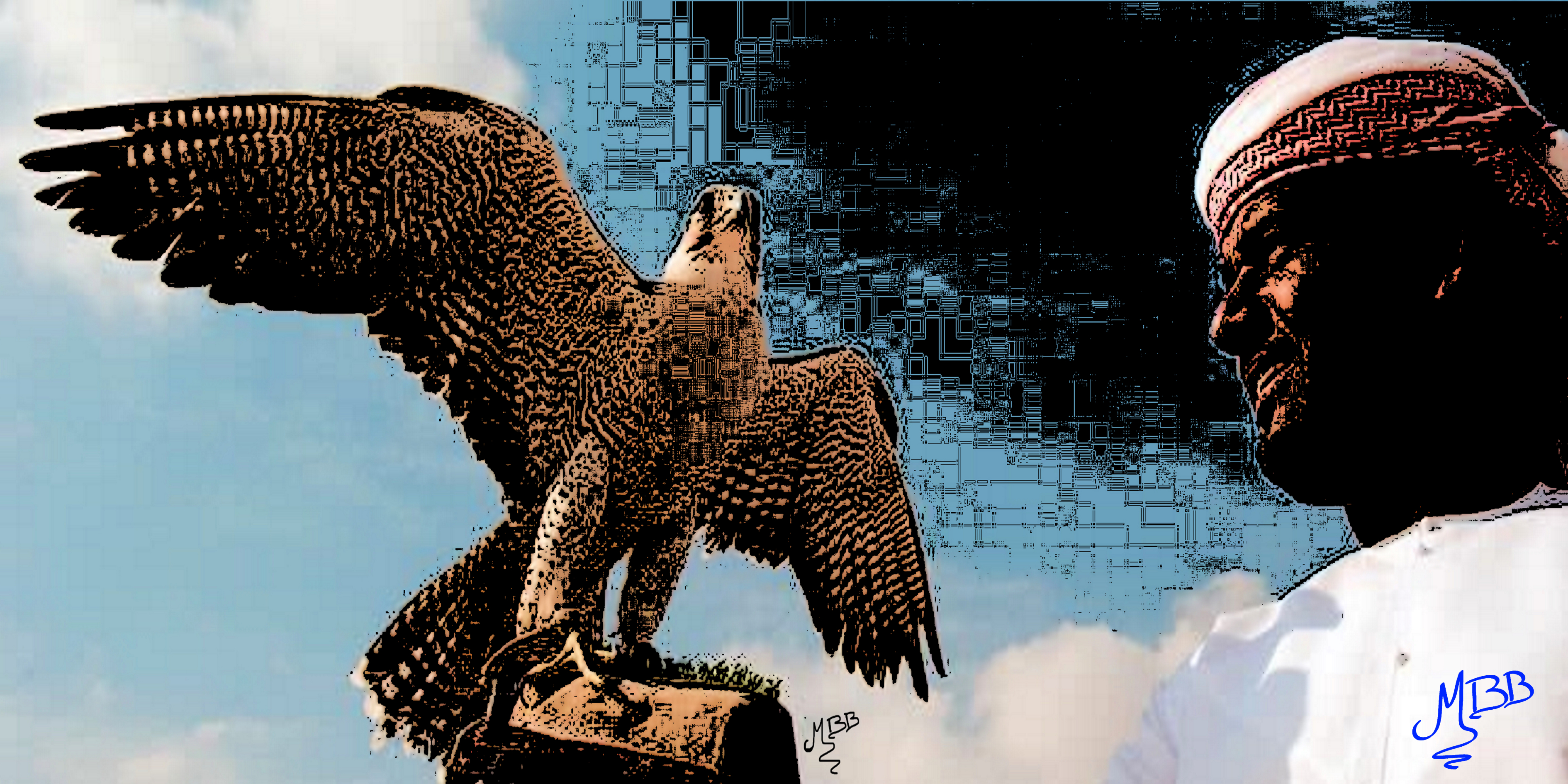 Falcon with wings