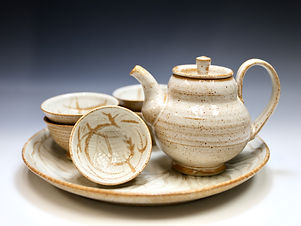 """Urban Garden Tea Set with Tray"" by Miki Shim Rutter"