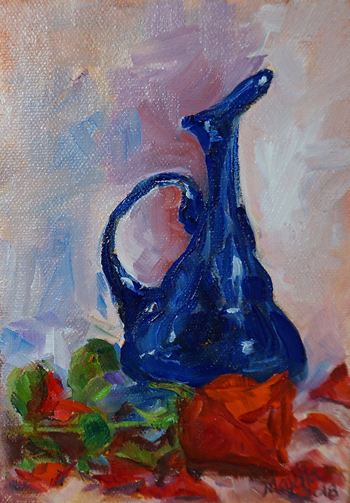 """""""Blue vase with red rose"""" by Majella Pinto"""