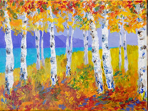 """Birch Trees in Autumn"" by Rona Foster"