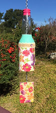 """""""Turquoise and pink floral wind chime"""" by Bilha Golan"""