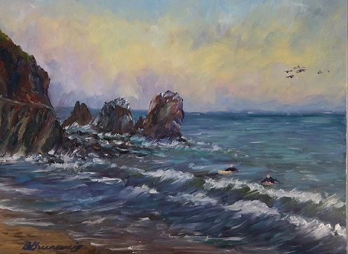 """""""Surfers at Rockaway Beach"""" by Barbara Greensweig"""