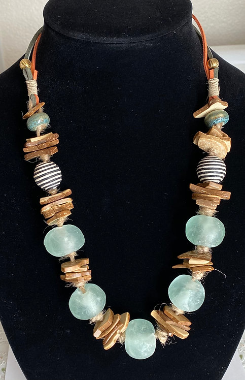 """Necklace with Ghana Sea Glass"" by Lana Potels"