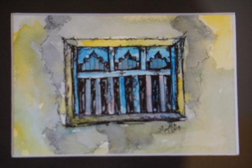 """""""Blue window, Zeenat Baksh, Port Bunder"""" by Majella Pinto"""