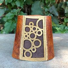 """Lasercut Leather Circles Cuff"" by Kathleen Bonte"