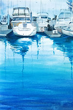 """""""Boats in Blue"""" by Mohana Pradhan"""