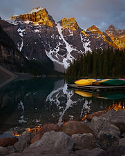 """Kayaks, Moraine Lake, Banff"" by Larry Salveson"