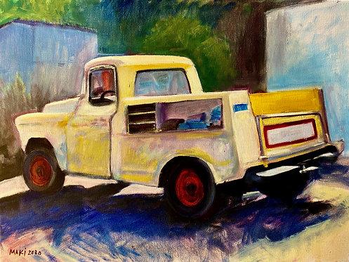 """""""Sausalito Yellow Truck"""" by Linda Maki"""