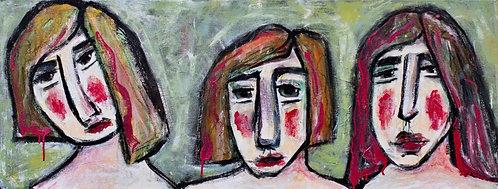 """Three ladies waiting in line."" by Susan Babbel"