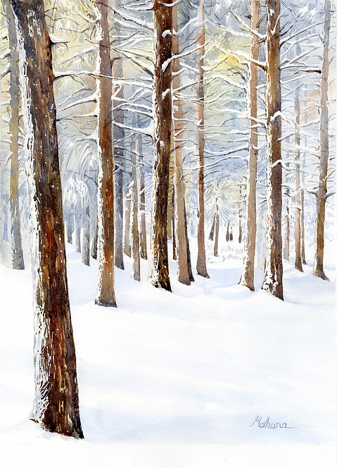"""Walking through Snowy Woods"" by Mohana Pradhan"