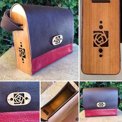 """Lasercut Wood and Leather Messenger Bag"" by Kathleen Bonte"
