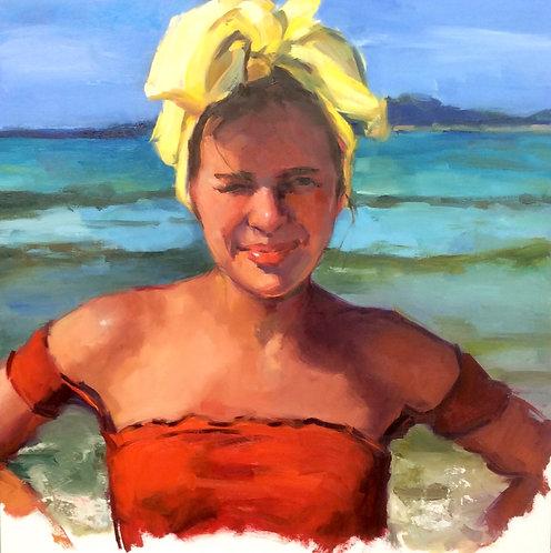 """""""Ocean Frolic in a Yellow Bandana"""" by Laurie Johnson Lepkowska"""