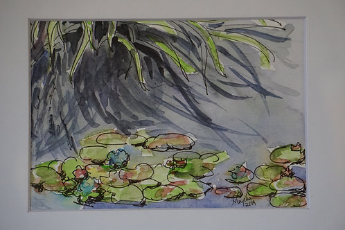 """""""Monet's Water lilies Reflections of Tall Grasses"""" by Majella Pinto"""