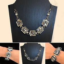 """Reversible/Convertible Glass Tile Necklace/Bracele"" by Kathleen Bonte"