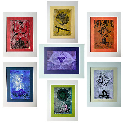 """Set of 7 chakra balancing meditative art paintings"" by Claudia Sloan"