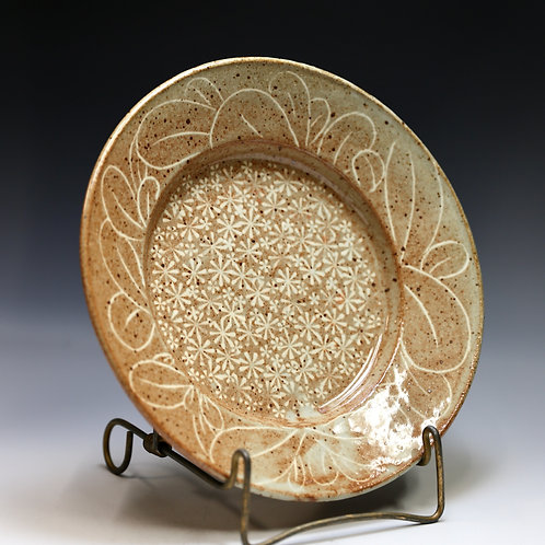 """12 inch Carved and Stamped Plate"" by Miki Shim Rutter"