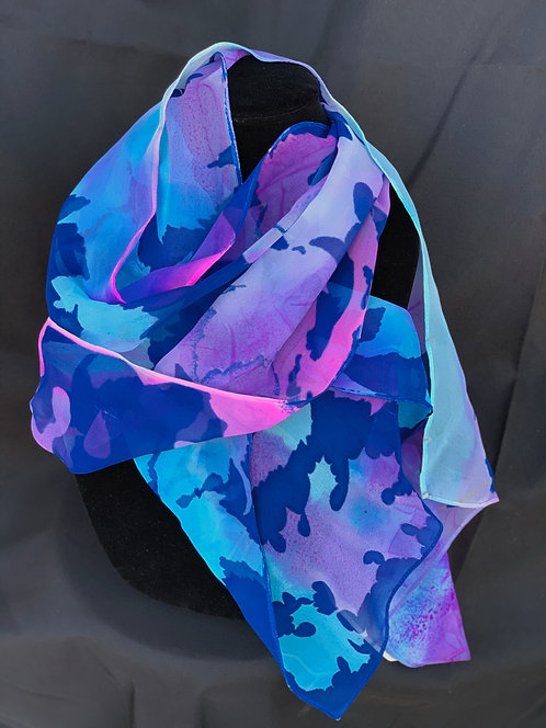 """Chiffon scarf: leaves in pink and blue"" by Barbara Pease"